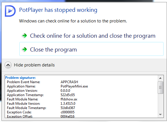 PotPlayer has stopped working (Page 1) — Using SVP
