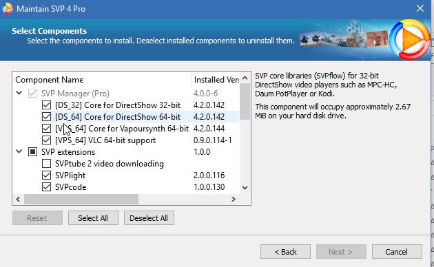 SVPTube 2 (Version 2 1 0 122) causes SVP on Windows 10 Pro to not
